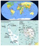 Antarctic region & World. World map and Close up of Antarctic region Royalty Free Stock Photography
