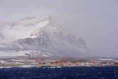 Antarctic Research Base. Antarctic Sound is at the northern tip of the Antarctic Peninsular and connects the Southern Ocean to the Wedell Sea. Even in the summer Stock Photography