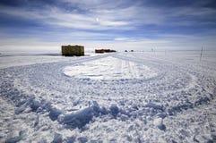 Antarctic research station. Caterpillar tracks close to an Antarctic scientific research station Royalty Free Stock Photo
