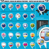 Antarctic, Russia America Territories Pointer Flag. S with world Map set,  illustration in .CS and .EPS10. Contain transparency Stock Image