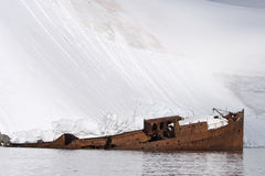 Antarctic shipwreck pollution royalty free stock photo