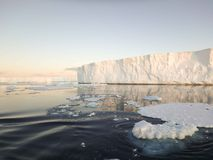 Antarctic Sound icebergs. Huge tabular icebergs and floes in Antarctic Sound at twilight in summer Stock Photography