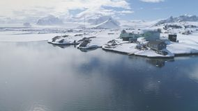 Antarctic vernadsky station epic aerial view stock footage