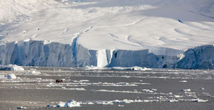 Antarctica. Tourists explore the coast of the Antarctic Peninsula in a Zodiac royalty free stock images