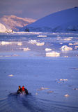 Antarctica. Tourist ship and zodiac in the Lamaire Channal on the Antarctic Peninsula Stock Image