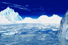 Antarctica. 3d iced see and glaciers vector illustration