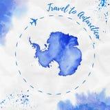 Antarctica akwareli mapa w błękitnych kolorach ilustracji