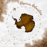Antarctica akwareli mapa w sepiowych kolorach ilustracja wektor