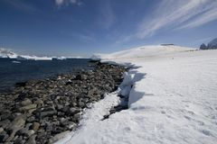Antarctica, cuverville island. Antarctica and cuverville island's shoreline stock images