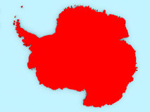 Antarctica on 3D map. Country of Antarctica highlighted in red on blue map. 3D illustration vector illustration