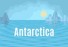 Antarctica drawing landscape with sea and floes. Antarctica drawing landscape with sun and sea and floes royalty free illustration