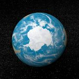 Antarctica on earth - 3D render. Antarctica on earth and universe background with stars - 3D render stock illustration
