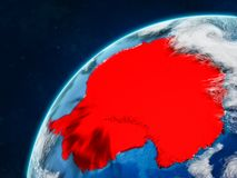 Antarctica on Earth with borders. Antarctica on realistic model of planet Earth with country borders and very detailed planet surface and clouds. 3D illustration royalty free illustration