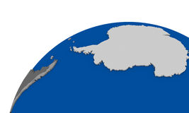 Antarctica on Earth political map. Political map of Antarctica on globe stock illustration