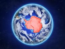 Antarctica on Earth from space. Antarctica from space. Planet Earth with country borders and extremely high detail of planet surface and clouds. 3D illustration vector illustration