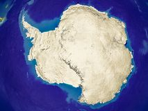 Antarctica on Earth. Antarctica from space on Earth with country borders and lines representing international communication, travel, connections. 3D illustration stock illustration