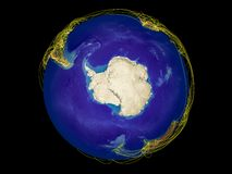 Antarctica on Earth from space. Antarctica from space on Earth with country borders and lines representing international communication, travel, connections. 3D royalty free illustration