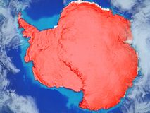Antarctica on Earth from space. Antarctica from space on model of planet Earth with country borders. Extremely fine detail of planet surface and clouds. 3D royalty free illustration