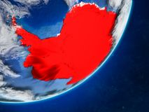 Antarctica on Earth from space. Antarctica on model of planet Earth with country borders and very detailed planet surface and clouds. 3D illustration. Elements royalty free illustration