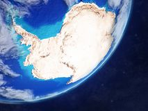 Antarctica on Earth from space. Antarctica on realistic model of planet Earth with country borders and very detailed planet surface and clouds. 3D illustration vector illustration