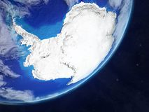 Antarctica on Earth from space. Antarctica on realistic model of planet Earth with very detailed planet surface and clouds. 3D illustration. Elements of this stock illustration