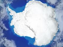 Antarctica on Earth from space. Antarctica from space on realistic model of planet Earth with very detailed planet surface and clouds. 3D illustration. Elements stock illustration