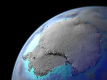 Antarctica on Earth from space. Very fine detail of planet surface, realistic clouds and very bright city lights. 3D illustration. Elements of this image stock illustration