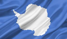 Antarctica flag waving with the wind, 3D illustration. 3D rendering vector illustration