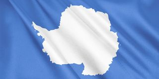 Antarctica flag waving with the wind. Antarctica flag waving with the wind, wide format, 3D illustration. 3D rendering stock illustration