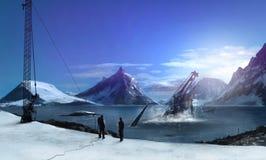Antarctica. Futuristic Antarctica scenery nature landscape art illustration Royalty Free Stock Photography
