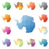 Antarctica geometryczny poligonalny, mozaika stylu mapy ilustracji