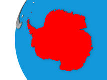 Antarctica on globe. 3D map of Antarctica focused in red on simple globe. 3D illustration royalty free illustration