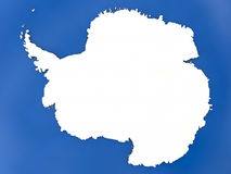 Antarctica on globe. Map of Antarctica with embedded national flag on globe, top-down view. 3D illustration stock illustration