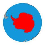 Antarctica on globe. Map of Antarctica highlighted in red on globe. 3D illustration isolated on white background royalty free illustration
