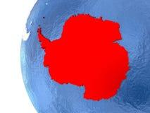 Antarctica on globe. Antarctica on metallic globe with watery blue oceans. 3D illustration vector illustration