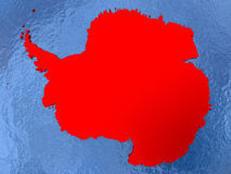 Antarctica on globe. Political map Antarctica in red. 3D illustration with watery blue oceans and metallic landmasses royalty free illustration
