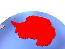 Antarctica on globe. Antarctica in red color on simple elegant political globe. 3D illustration royalty free illustration