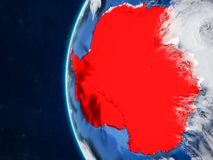 Antarctica on globe from space. Antarctica from space on model of planet Earth with country borders and very detailed planet surface and clouds. 3D illustration vector illustration