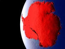Antarctica on globe from space. Night view of Antarctica from space with visible city lights. Very detailed plastic planet surface. 3D illustration. Elements of vector illustration