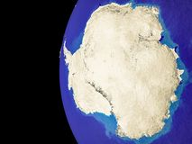 Antarctica on globe from space. Satellite view of Antarctica from space with country borders. Very detailed planet surface and blue oceans. 3D illustration stock illustration