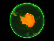 Antarctica on green networked Earth stock illustration