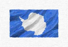 Antarctica hand painted waving national flag. Antarctica hand painted waving national flag, oil paint isolated on white canvas, 3D illustration royalty free illustration