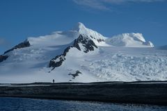 Antarctica hiking beneath pristine mountains, snow and glaciers royalty free stock photo