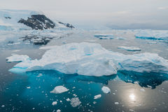 Antarctica. Ice floe on a sunny day in Antarctica from above Stock Photography