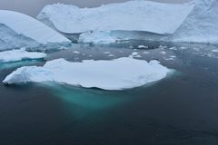 Antarctica, icebergs floating on the antarctic ocean stock photography