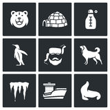 Antarctica icons set. Vector Illustration. Stock Image