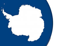 Antarctica with its flag. Map of Antarctica with its flag on globe. 3D illustration royalty free illustration