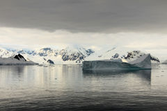 Antarctica landscape, icebergs, mountains and ocean at sunrise Stock Photography