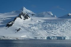 Antarctica lodowowie, góry, śnieg i lód, zdjęcie stock
