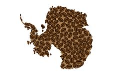 Antarctica - map of coffee bean. Antarctica map made of coffee beans stock illustration